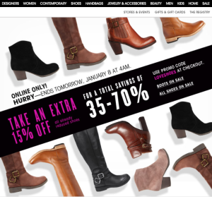 Take an extra 15% off shoes with Bloomingdales today